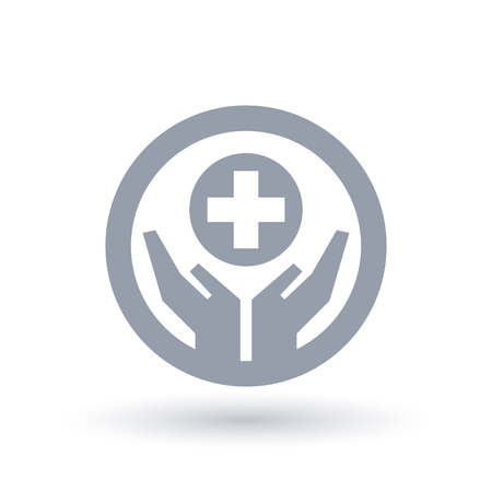 Hands with medical aid cross icon in circle outline. Healthcare symbol. Hospital sign. Vector illustration.