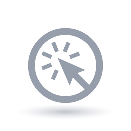 Pointer arrow icon in circle outline illustration.