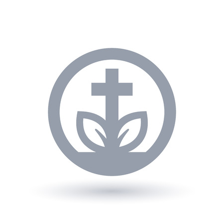 Christian cross plant leaf icon in circle outline. Concept spiritual growth symbol. Church life sign. Vector illustration. Иллюстрация