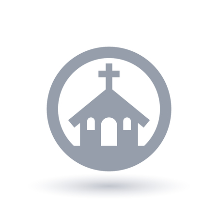 House and cross icon in circle outline.