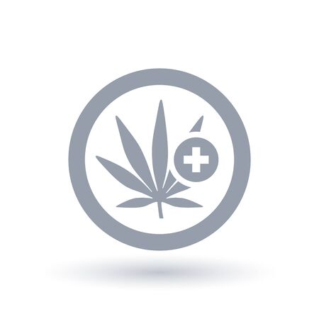 Marijuana plant leaf with cross icon in circle outline. Medical cannabis treatment symbol. Natural herbal medicine. Vector illustration. Illustration