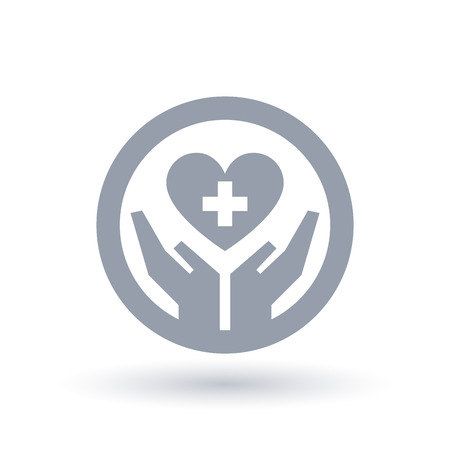 Hands hold heart with a cross icon in circle outline. Illustration