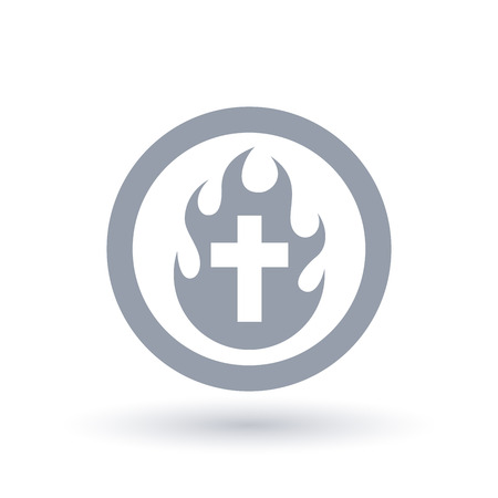 Concept burning Christian cross icon in circle outline. Holy Spirit flame and crucifix symbol. Spiritual baptism of fire sign. Vector illustration.