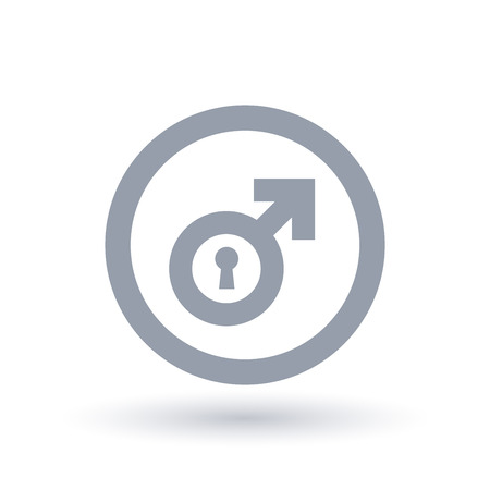 Male symbol with keyhole in circle outline. 일러스트