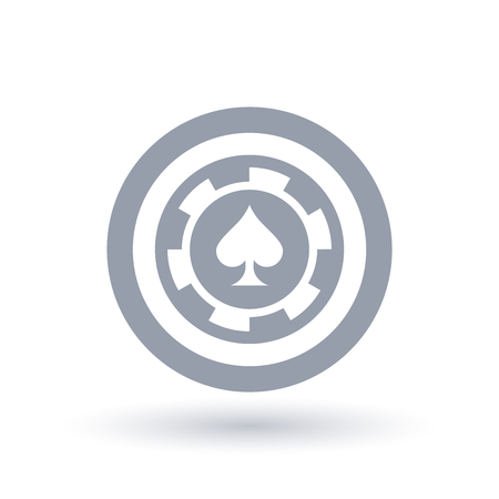 Poker chip icon. Ace of spades token symbol. Gambling sign in circle outline. Vector illustration.