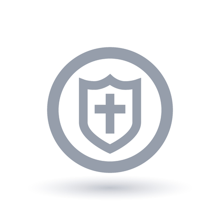 Shield of salvation icon. Armor of God symbol. Christian church faith sign with cross and protective guard in circle outline. Vector illustration. Stock Illustratie