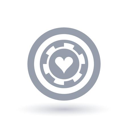 Poker chip icon. Heart token symbol. Gambling sign in circle outline. Vector illustration.