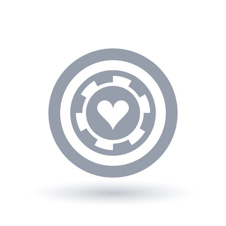 Poker chip icon. Heart token symbol. Gambling sign in circle outline. Vector illustration.