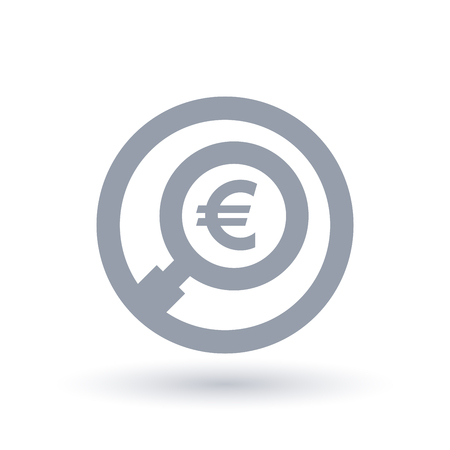 Euro magnifying glass symbol, European currency search icon. Economics sign in circle outline vector illustration.