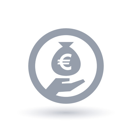 Euro money bag in hand symbol. European currency banking icon. Money savings sign in circle outline. Vector illustration. Иллюстрация
