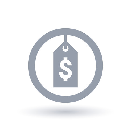 Dollar price tag icon. Sale label sign. Discount shop symbol in circle outline. Vector illustration.