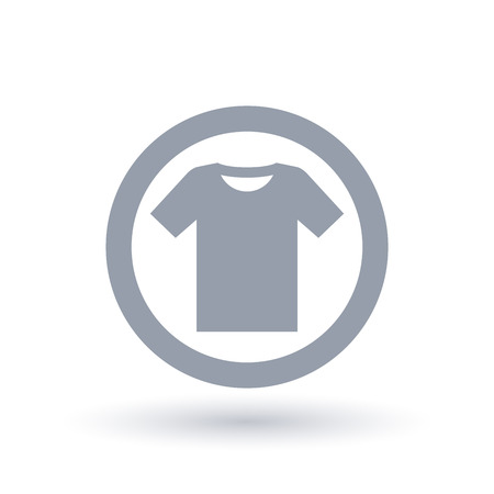 Simple t-shirt icon. Mens tee shirt symbol. Clothing sign in circle outline. Vector illustration.