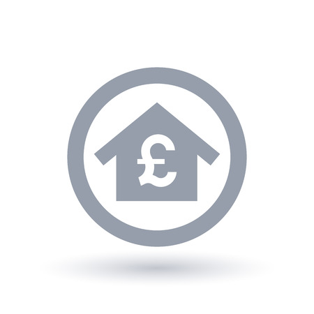 House with British Pound symbol. Britain real estate icon. Residential home finance sign in circle outline. Vector illustration.