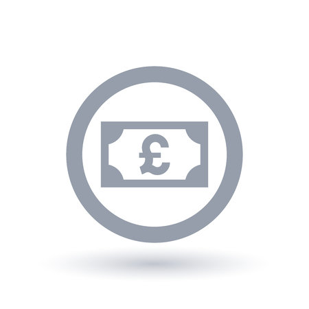 Pound money symbol. British paper currency icon. Great Britain cash note sign in circle outline. Vector illustration.
