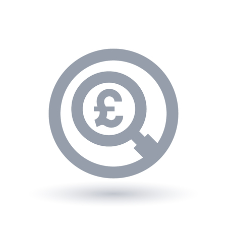 British Pound magnifying glass symbol. Britain currency search icon. Economics sign in circle outline. Vector illustration. Illusztráció