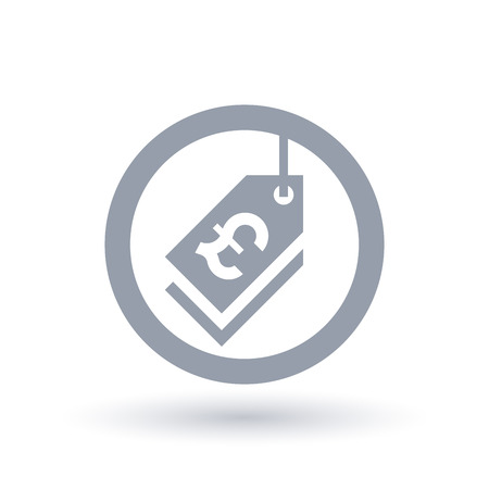 Pound price tag icon. British sale label sign. Discount shop symbol in circle outline. Vector illustration.