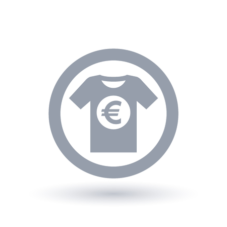 Simple t-shirt Euro icon. Mens tee shirt European money symbol. Clothing shop price sign in circle outline. Vector illustration.
