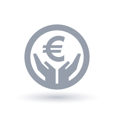 Euro currency hands icon. European money success symbol. EU financial wealth sign in circle outline. Vector illustration. Illustration