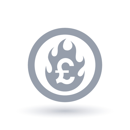 Pound flame icon. Fire burning British currency symbol. Britain economic crisis sign. Vector illustration.