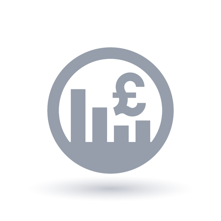 British Pound stock market icon. Great Britain currency exchange rate sign. GBP symbol and bar graph in circle. Vector illustration.