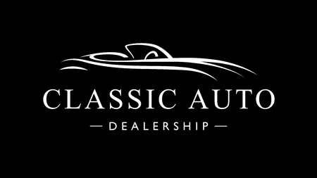 Classic vintage style sports car auto dealership icon. Retro style luxury garage vehicle silhouette. Vector illustration.