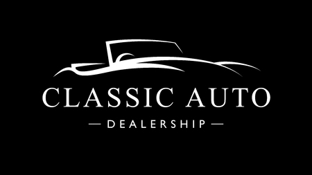 Classic retro style sports car dealership. Vintage convertible auto garage vehicle silhouette. Vector illustration. Illustration