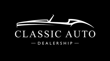 Classic retro style sports car dealership icon. Vintage convertible auto garage vehicle silhouette. Vector illustration.