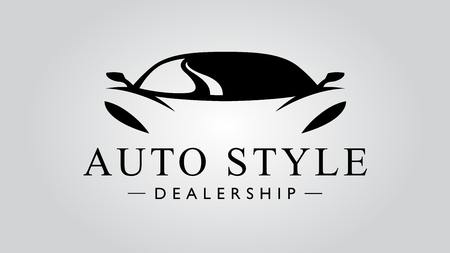 Auto dealer super auto stijlicoon met concept sport voertuig pictogram silhouet op lichtgrijze achtergrond. vector illustratie