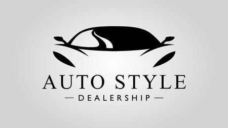 Auto-Stil Autohaus Super-Auto-Symbol mit Konzept Sportfahrzeug Symbol Silhouette auf hellgrauem Hintergrund. Vektor-Illustration