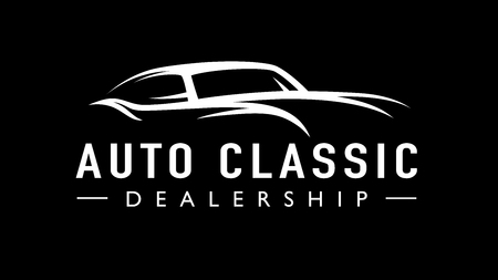 Old classic auto concept line style retro car dealership icon. Vintage style V8 garage vehicle silhouette. Vector illustration.