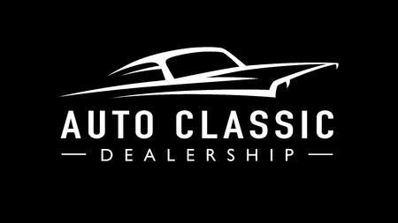 Icône de concessionnaire de voitures de muscle de sport de style concept américain classique. Silhouette de véhicule de garage automatique V8 de style rétro. Illustration vectorielle.