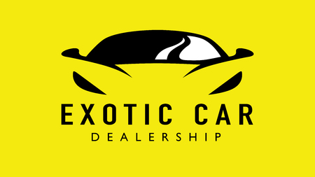 Exotic car dealership supercar design with concept sports vehicle icon silhouette on yellow background. Vector illustration