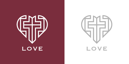 Abstract religious cross and heart icon. Christian love symbol. Vector illustration. 向量圖像