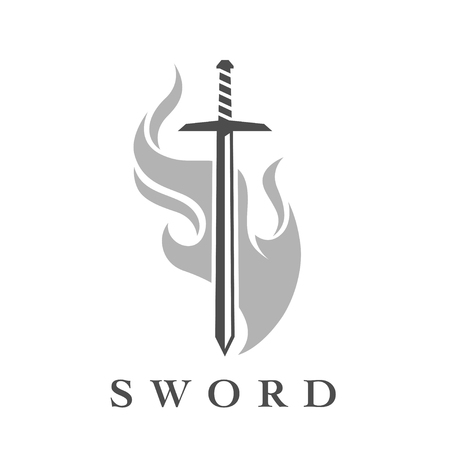 Schwert mit Flammenzeichenschablone. Professionelles Waffensymbol isoliert auf weißem Hintergrund. Vektor-Illustration.