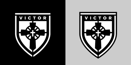 Concept religious Christian cross on shield sticker emblem sign. Jesus Christ the victor of eternal salvation icon badge. Vector illustration.