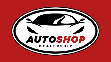 Auto shop sports car dealership symbol with silhouette icon of a conceptual shape performance motor vehicle badge template on red background. Vector illustration.