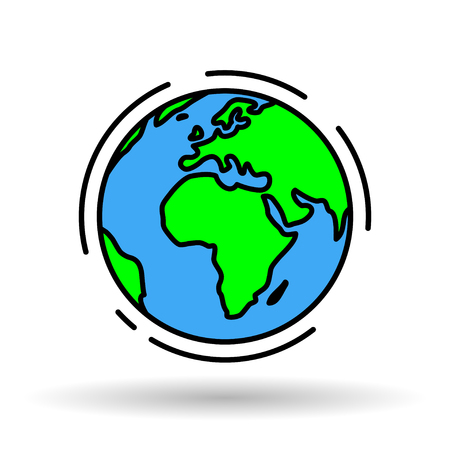 Globe icon. Earth sign. World symbol. Simple thin line green and blue global graphic with Africa on white background. Vector illustration.
