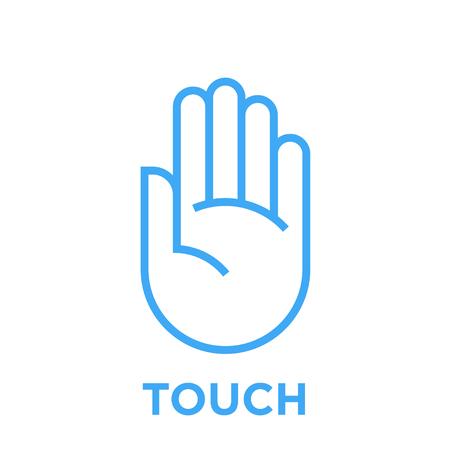 Handje. Raak het symbool aan. Menselijke palm teken. Blauwe vector grafische lijn stijl illustratie geïsoleerd op een witte achtergrond.