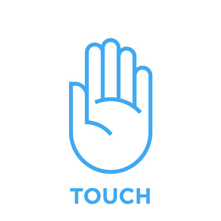 Icona della mano. Toccare il simbolo. Segno di palma umana. Illustrazione di stile di linea grafica vettoriale blu isolato su priorità bassa bianca.