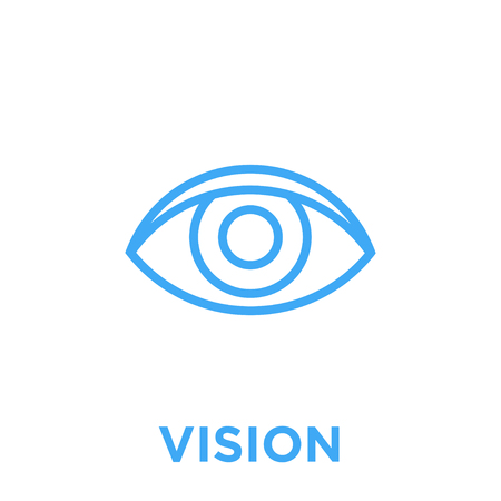 eye icon. Vision symbol. Human sight sign. Blue vector graphic line style illustration isolated on white background.