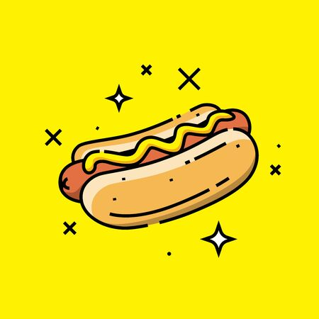 Hot dog line icon. American fast food hotdog graphic. Vector illustration. Standard-Bild - 128636856