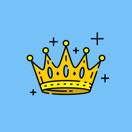 Gold crown icon. Kings golden royal crown graphic isolated on blue background. Vector illustration.