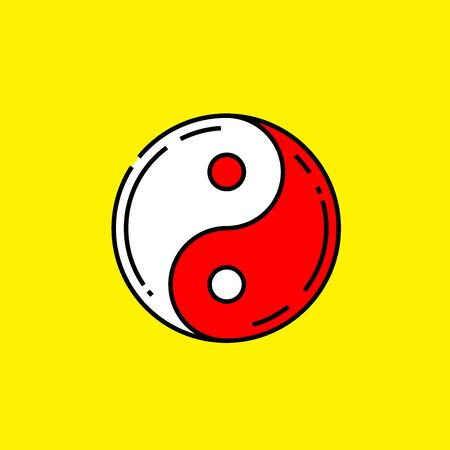 Red Yin and Yang symbol. Chinese Taoism icon isolated on yellow background. Vector illustration.