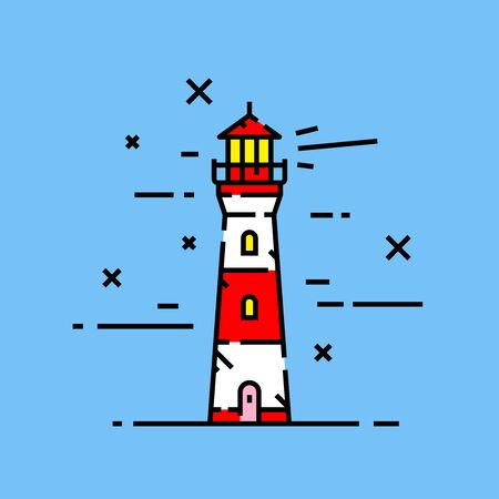 Red and white lighthouse line icon on blue background. Coast light house beacon tower at night graphic. Vector illustration.