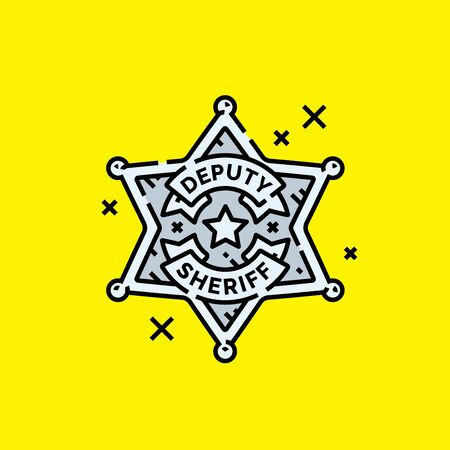 Old Deputy Sheriff badge icon. Wild west Ranger star symbol on yellow background. Vector illustration. Illustration