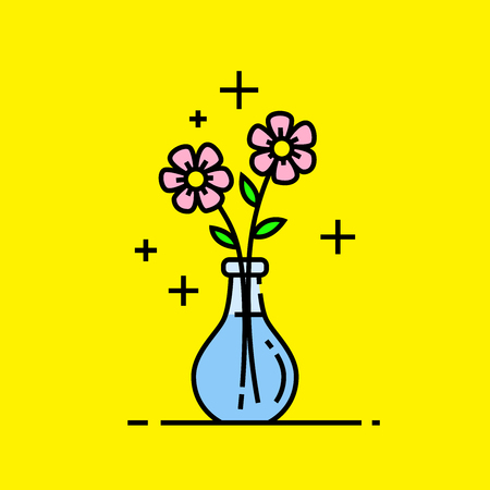 Spring flowers icon. Cute fresh pink summer flowers symbol in glass jar isolated on yellow background. Vector illustration.