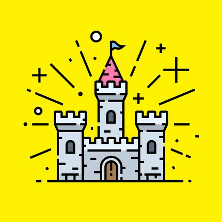 Magical stone castle line icon. Fantasy medieval palace fortress building graphic on yellow background. Vector illustration.