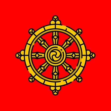 Dharma Wheel symbol. Gold Buddhism religion sign of Dharmachakra line icon isolated on red background. Vector illustration.