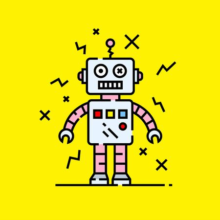 Broken robot icon. Silly damaged robotic character graphic isolated on yellow background. Vector illustration. Illustration