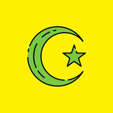 Symbol of Islam icon. Muslim religion sign. Green Islamic crescent moon and star isolated on yellow background. Vector illustration. Illustration